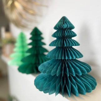 The Conscious Party Box: Green paper tree decorations